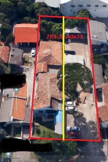 Terreno Bairro Rebouças 744m² com 2 Casas Comercial/Residencial Zr3 Ref. 8015